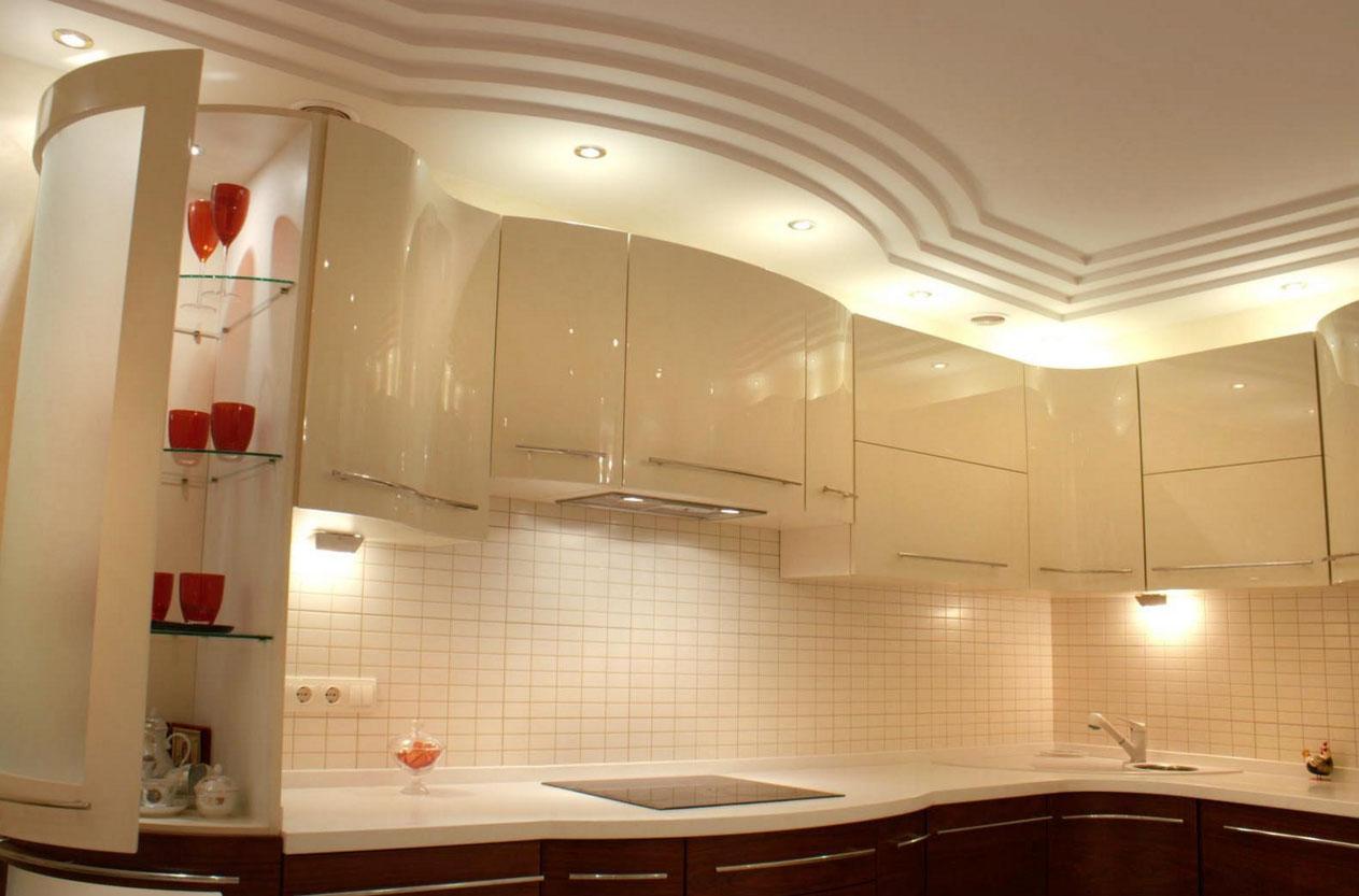 Дизайн проекты потолков из гипсокартона для кухни