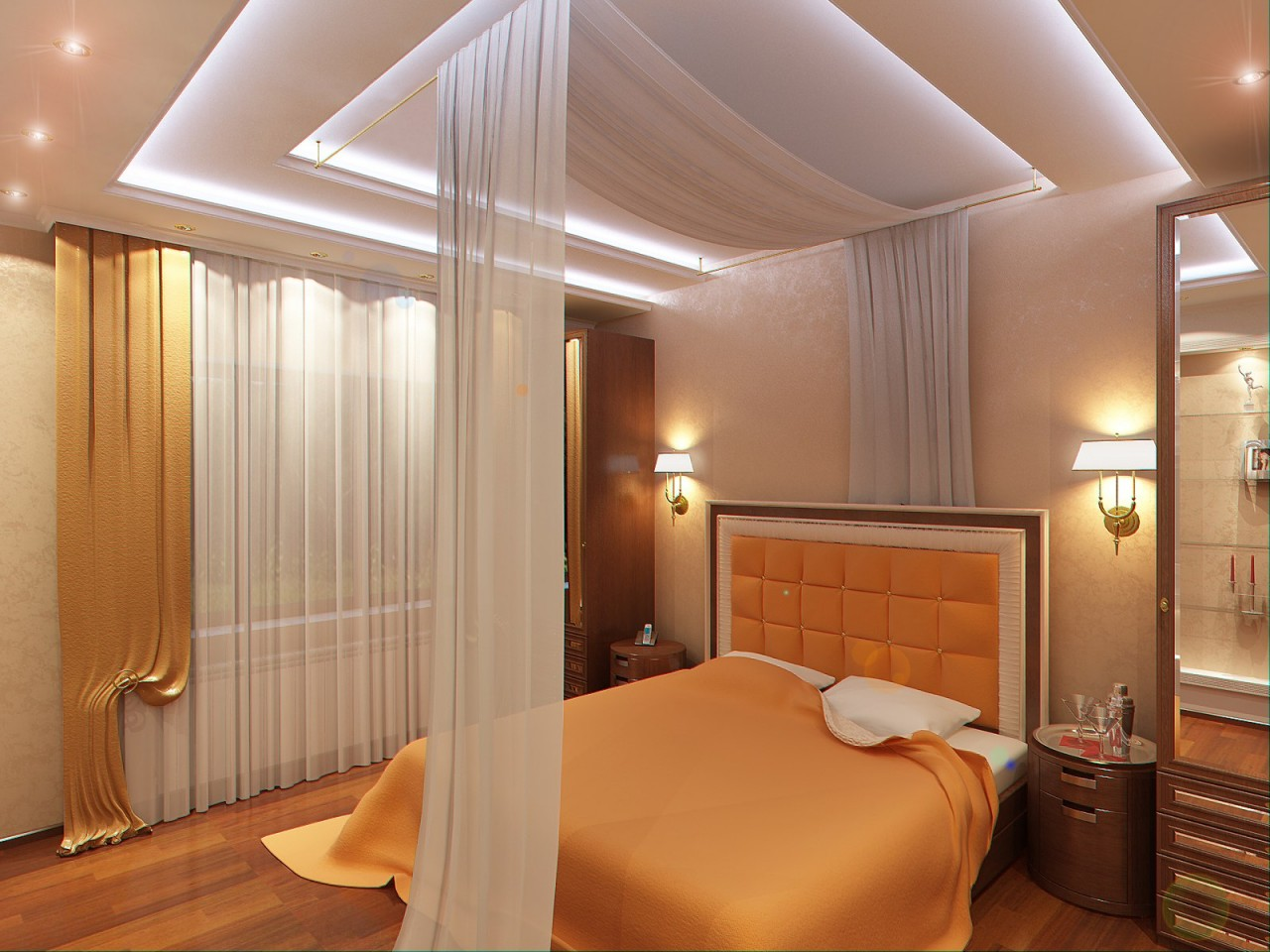 Как сделать потолок в маленькой спальне