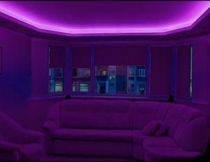 Двухуровневый потолок из гипсокартона с подсветкой