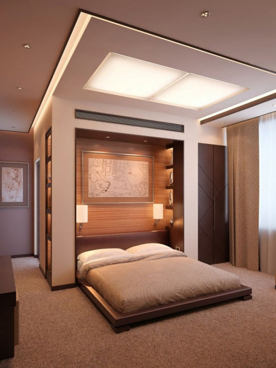 minimalist-bedroom-paint-ideas-for-couples-wooden-bed-frame-brown-carpet-floor-915x1218