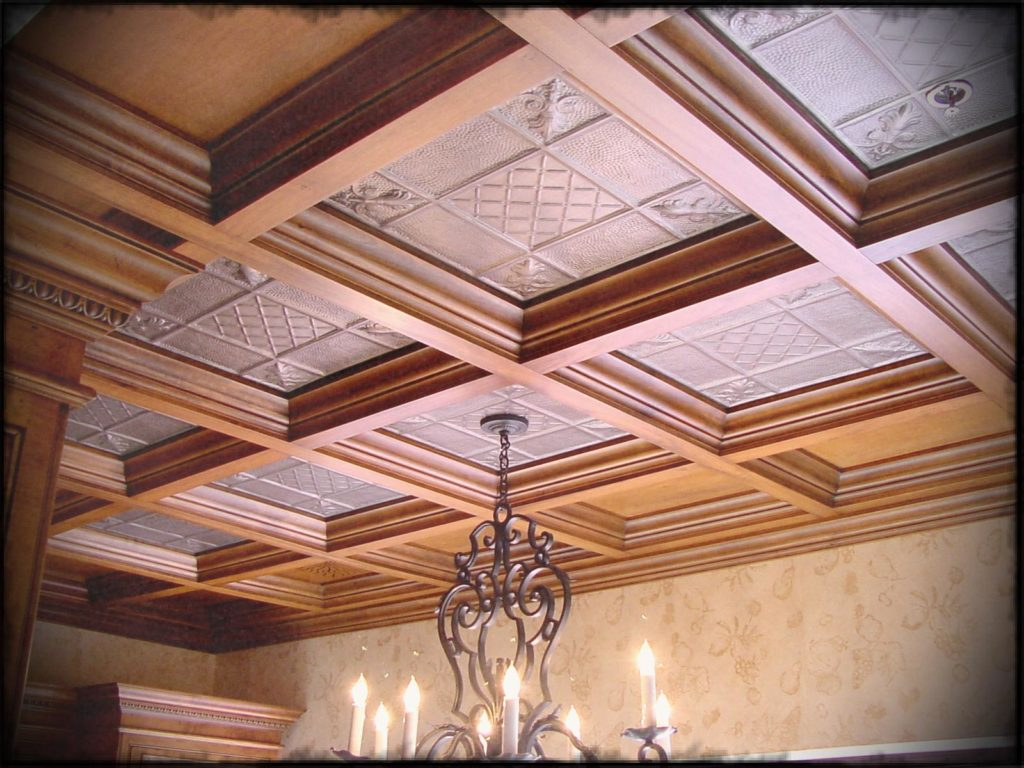 wonderful-wood-grid-coffered-suspended-drop-ceilings-for-library-ceilings-with-great-chandelier-also-light-brown-wall-paint